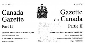 Canada Gazette 131-20 first use of new Coat of Arms