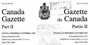 Canada Gazette 131-20
