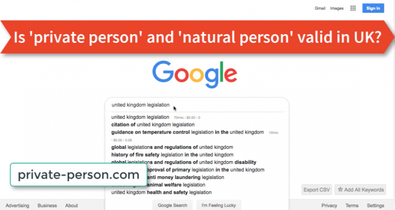 Is 'private person' and 'natural person' valid in UK?