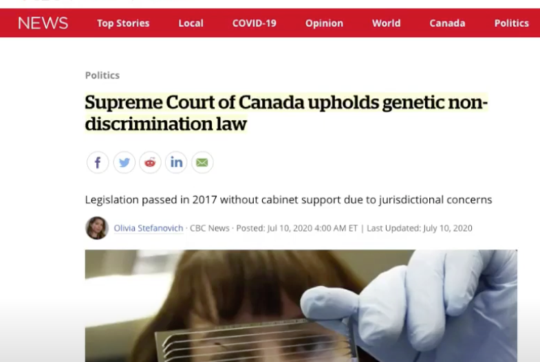 Involuntary Genetic Testing (PCR?) is Criminal Says Supreme Court of Canada